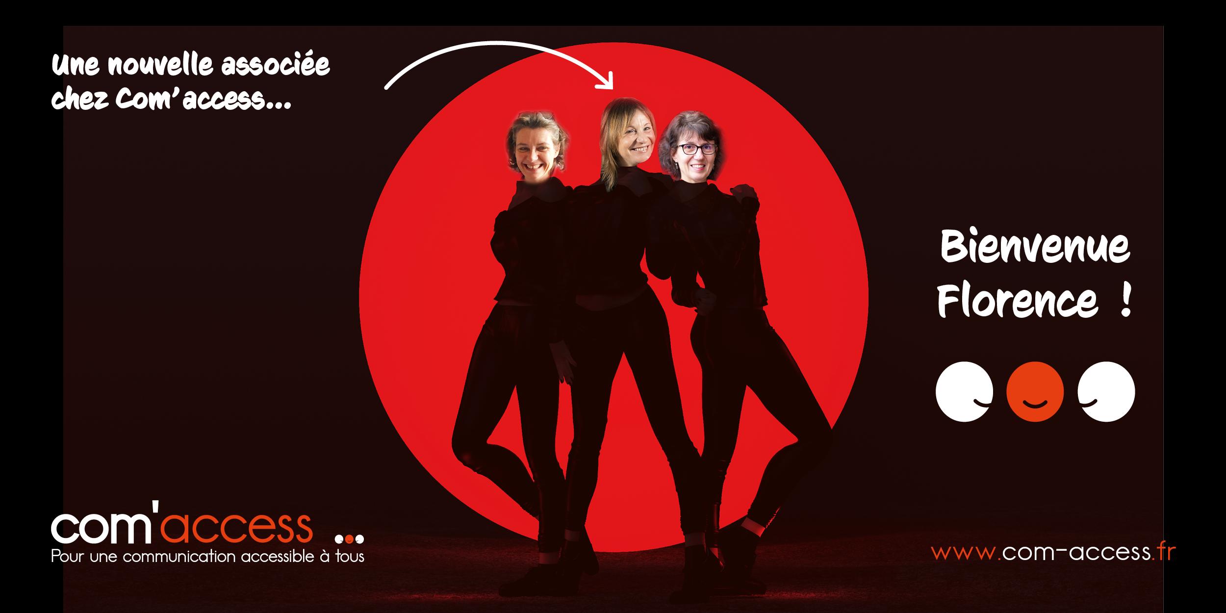 Image représentant les 3 associées sous forme de personnage de bande dessinée. Bienvenue Florence ! une nouvelle associée chez Com'access