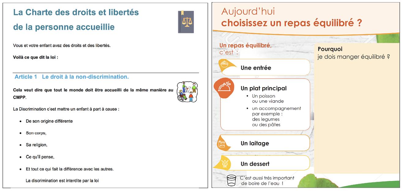 Exemple Charte des Droits et des Libertés et menu